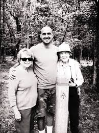 "Ben Montgomery, author, with Louise (L) and Lucy (R) ""Gatewood."" On the trail."